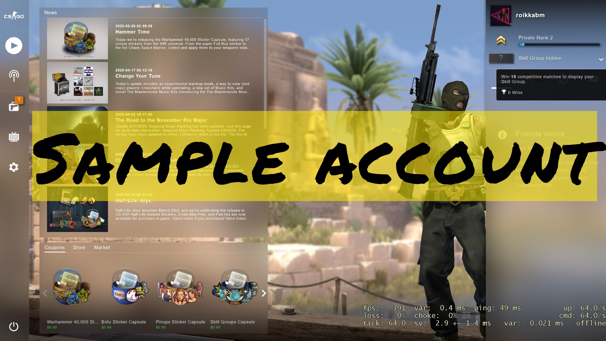 ⭐CS: GO ACCOUNT-2 private rank✔️(800h+) CSGO PERSONAL!