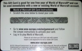 World of Warcraft Prepaid Time Card WOW EU 365 days