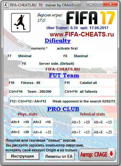 FIFA 17 Uber Trainer (99 OVR cheat) version 17.0