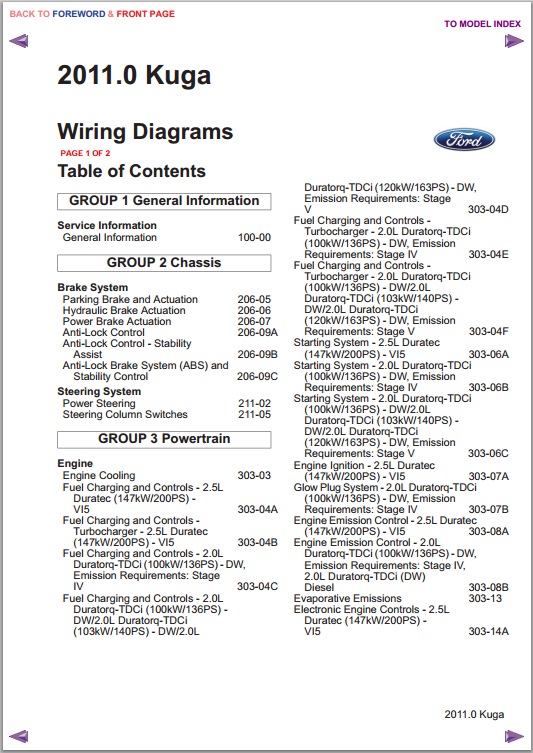 Buy Ford Kuga 2011 Wiring Diagrams  Electrical Circuits
