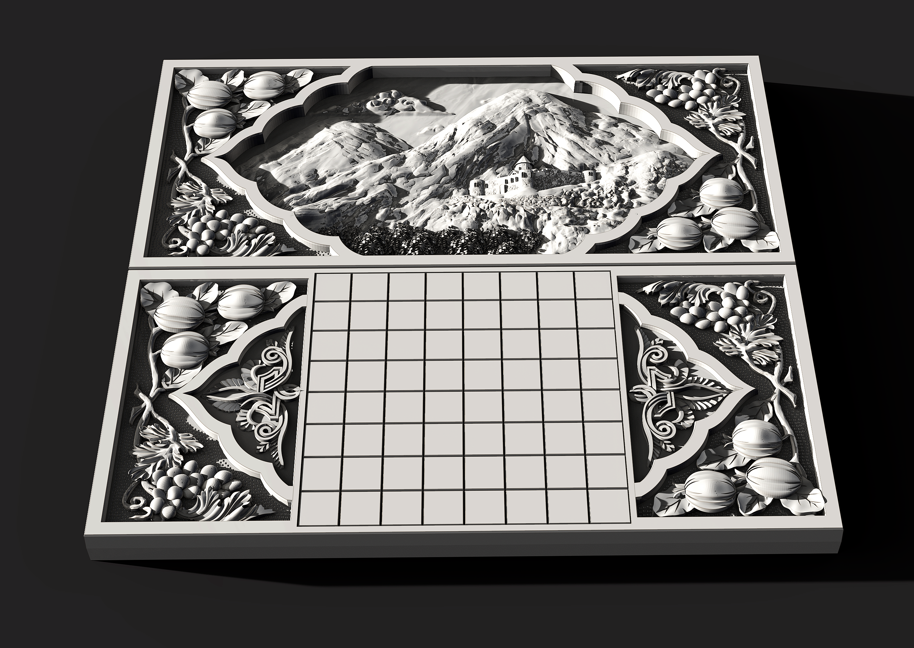 3d model of backgammon, chessboard for CNC machine
