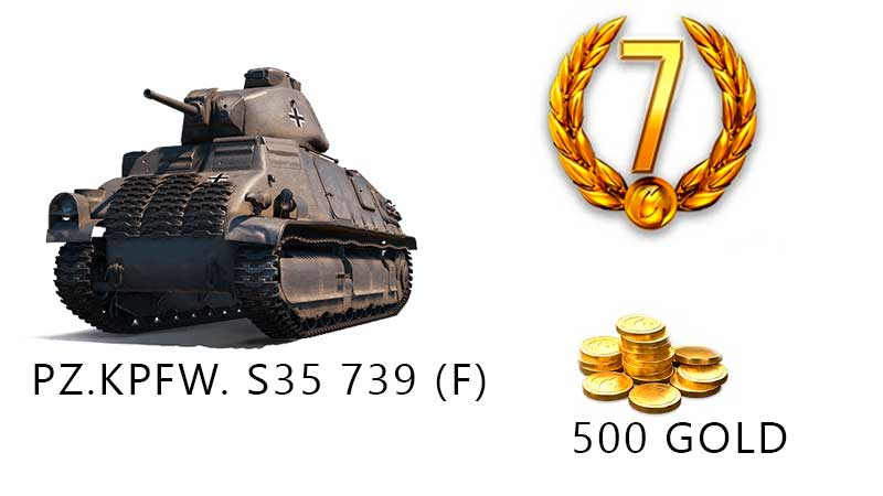 World of Tanks - Pz.Kpfw. S35 739 + 500 Gold 2019