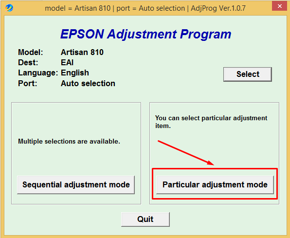 Adjustment Program Epson Artisan 810 (Сброс памперса)