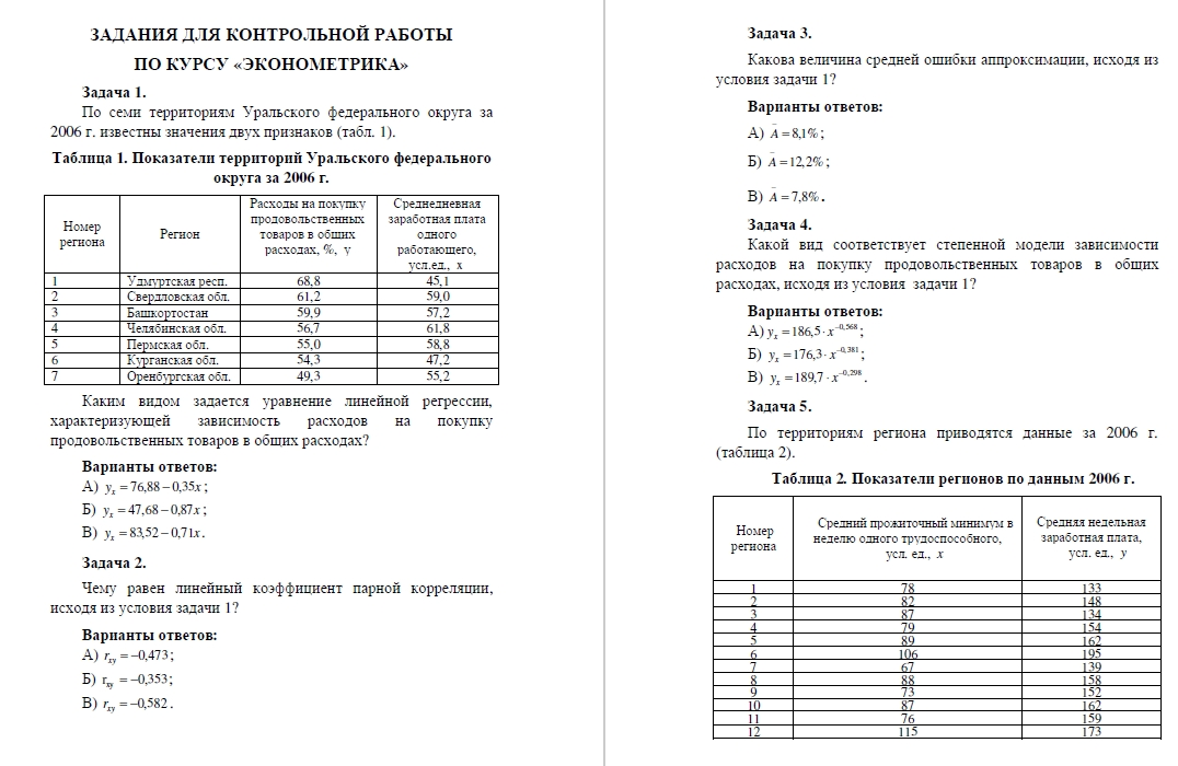 Econometrics RFEI (10 tasks) Word and Excel