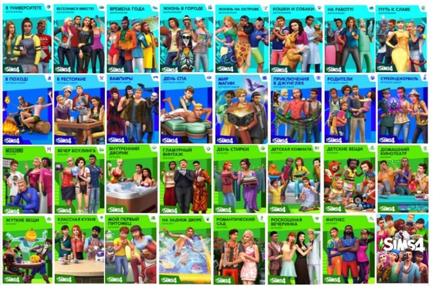 The Sims™ 4 Все дополнения , Игровые наборы и Каталоги
