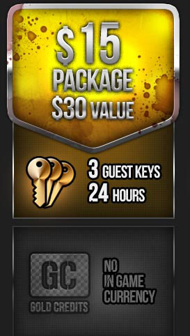 THE WARZ 15 $ PACKAGE + 3 GUEST KEYS