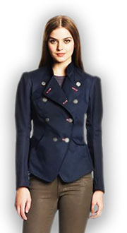 Pattern offset double-breasted jacket with zip