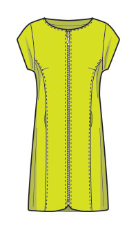 Pattern of women´s long jacket with short sleeves
