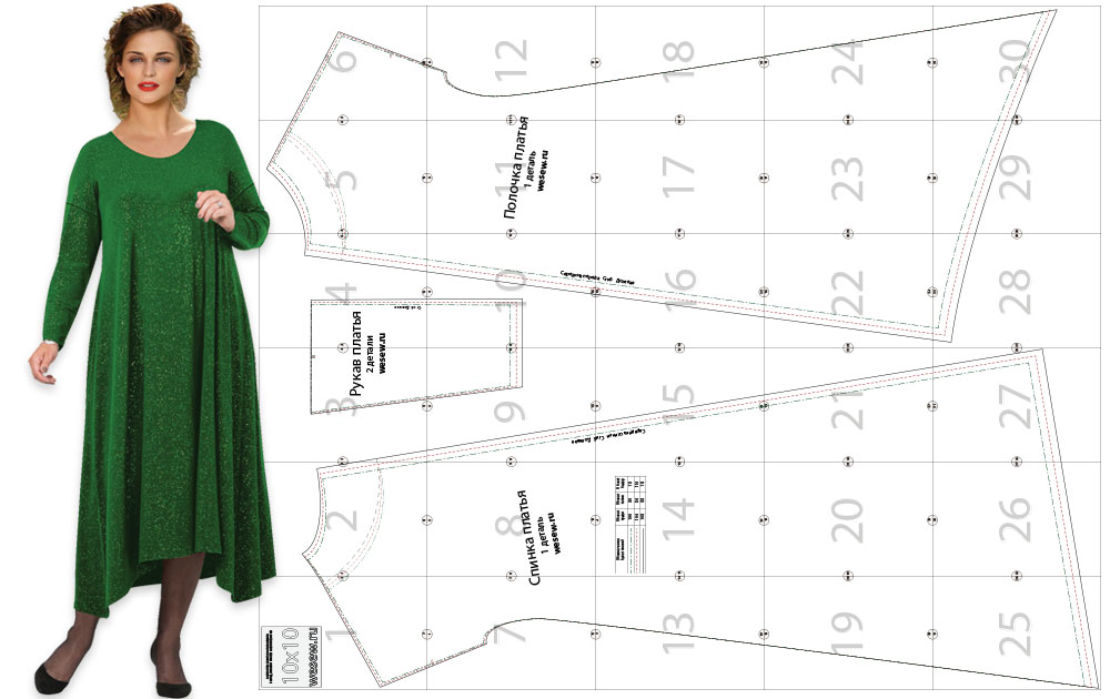 Ready-made pattern for a fashionable dress