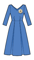 Pattern dress with sleeves three quarters