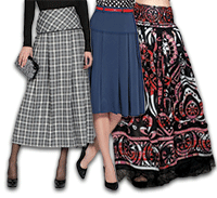 Pattern pleated skirt with basque
