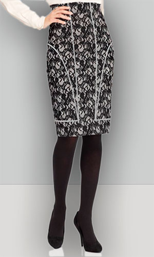 Pattern pencil skirt with a single cut belt and relief