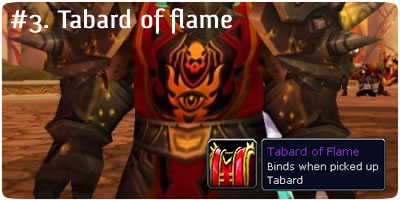 Tabard of Flame WoW Loot Card code World of Warcraft