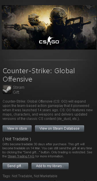 CS:GO Steam Gift Region Free 🌏 Tradable