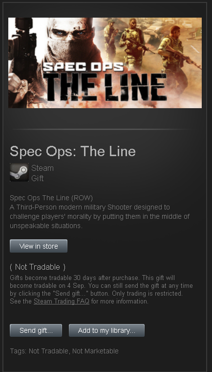 Spec Ops The Line █ RoW STEAM GIFT