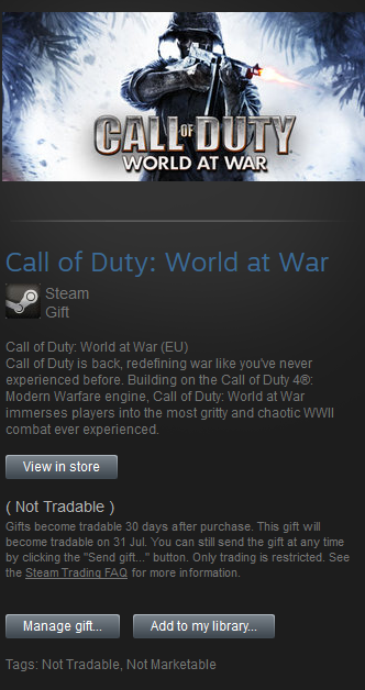 Call of Duty: World at War █ STEAM GIFT RoW