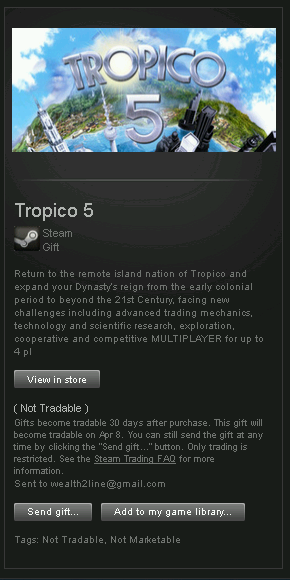 Tropico 5 ► ROW Region Free STEAM GIFT PC