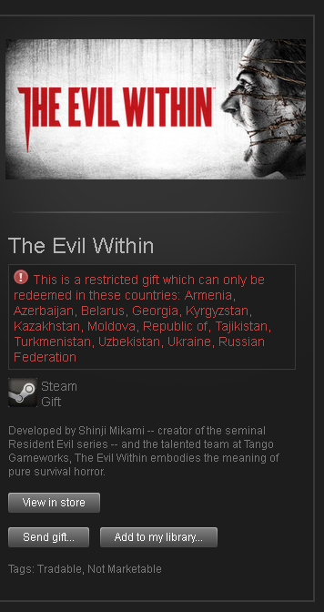 The Evil Within █ RU + CIS STEAM GIFT TRADABLE