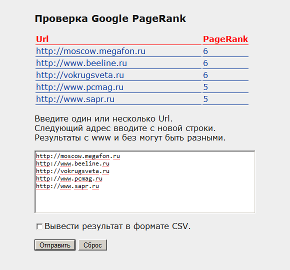 The script for batch testing Google PageRank 2012 New
