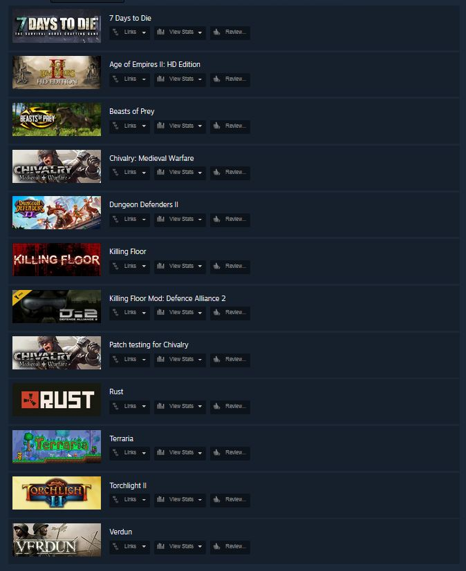 Steam Account: ROW Rust 7 Days Age of Empires Terraria