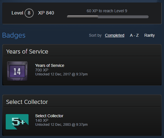 OLD STEAM ACCOUNT 14 years of service 2003 + FIRST MAIL