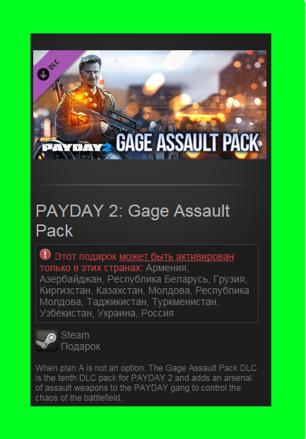 PAYDAY 2: Gage Assault Pack DLC (Steam gift / RU-CIS)