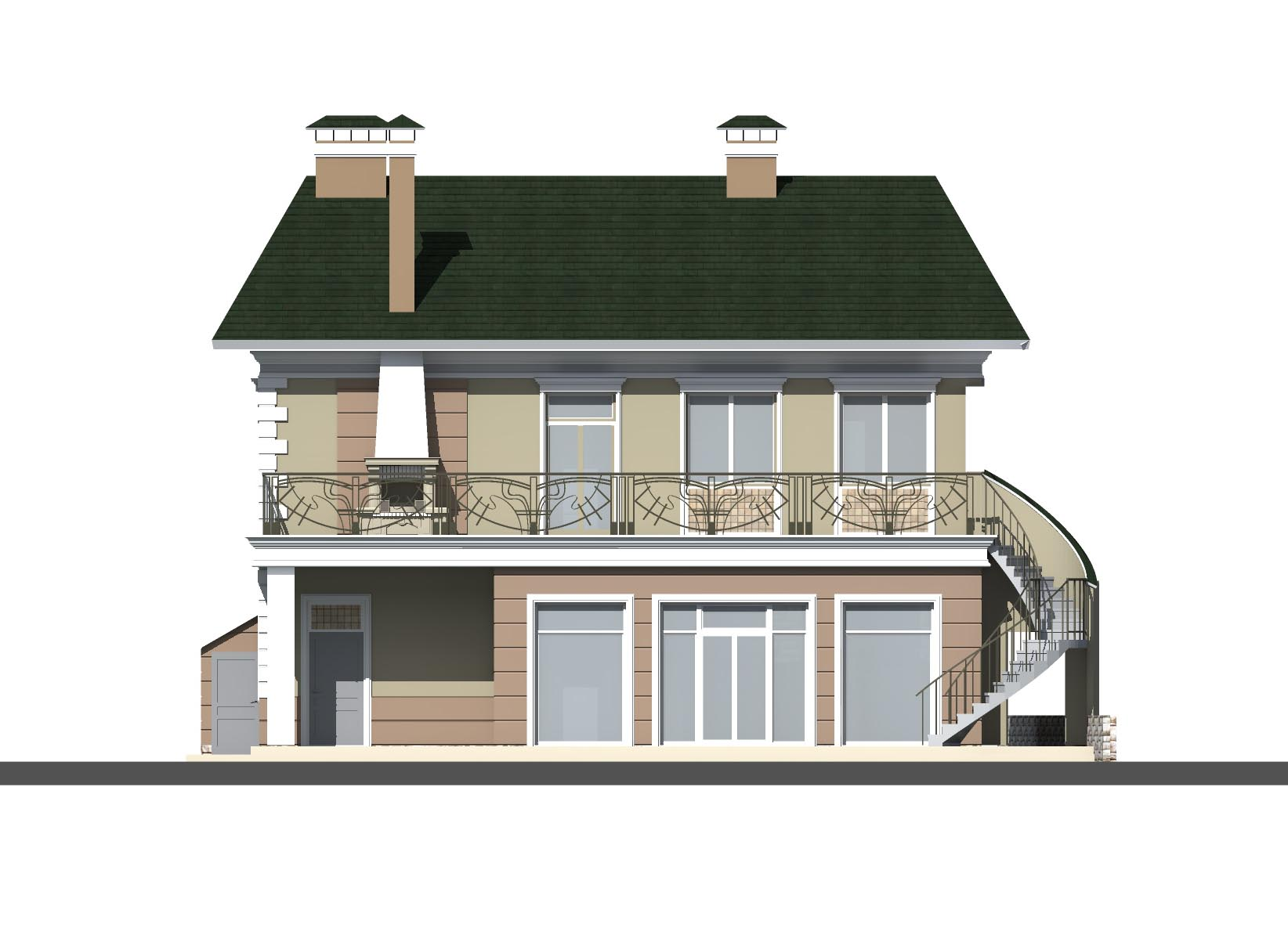 Two-storey brick house with a basement (DWG)