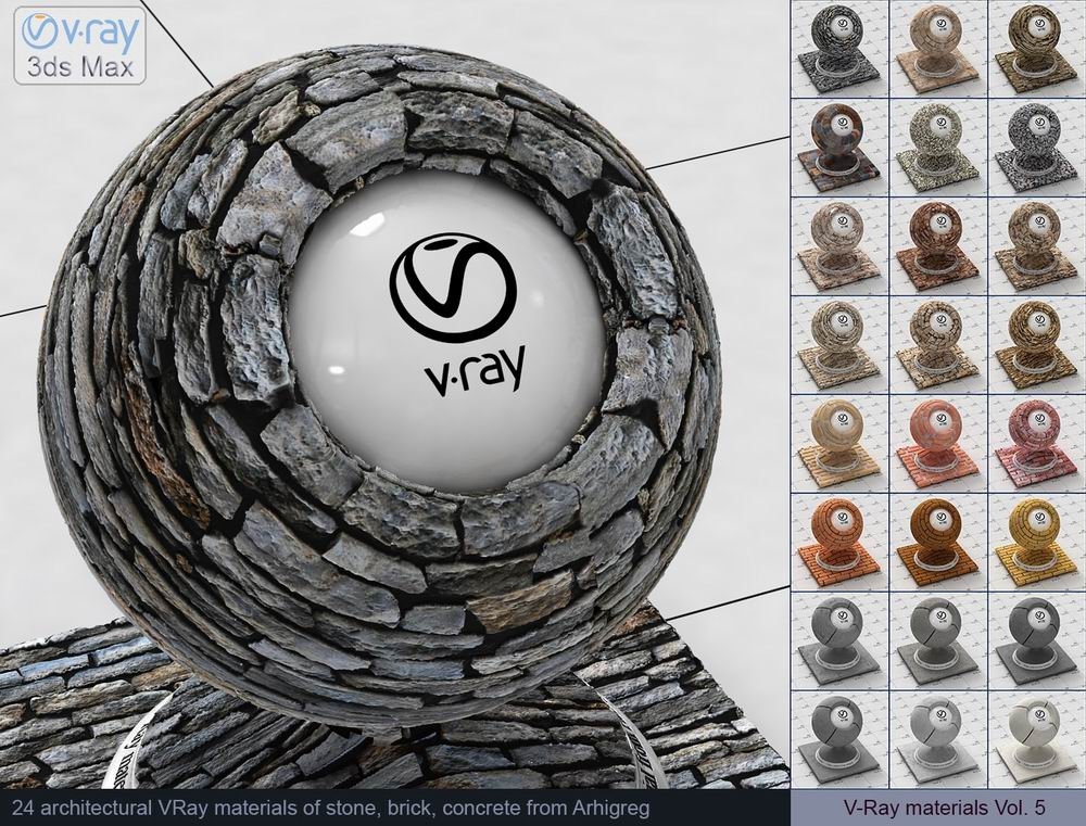 V-Ray materials Vol. 5 - Stone, Brick, Concrete