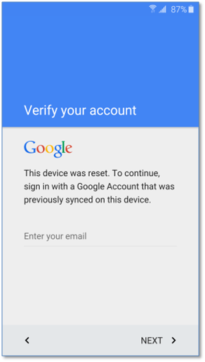 Samsung FRP unlock google account