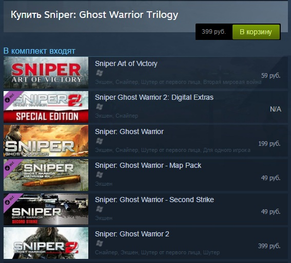 Sniper: Ghost Warrior Trilogy (6 в 1) RU/CIS