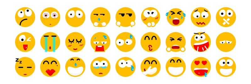 Flat icons emoticons (sizes: 24, 32, 48, 64, 256)