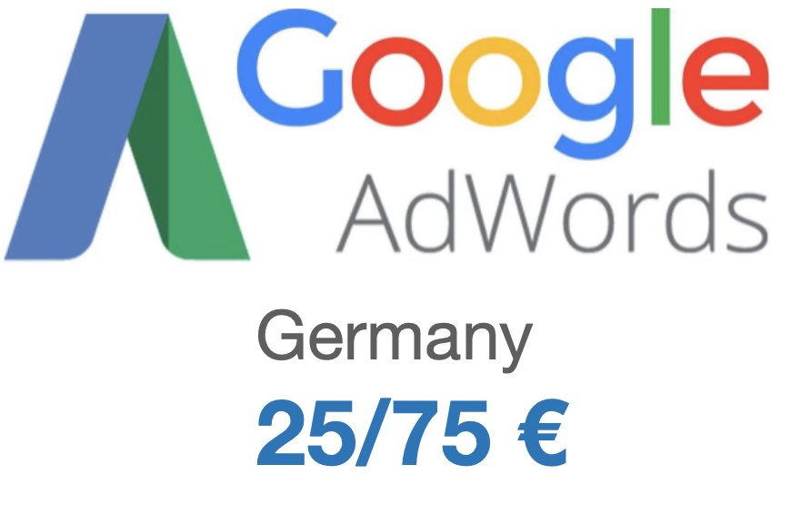 Google Adwords coupon 75€/25€ for GERMANY
