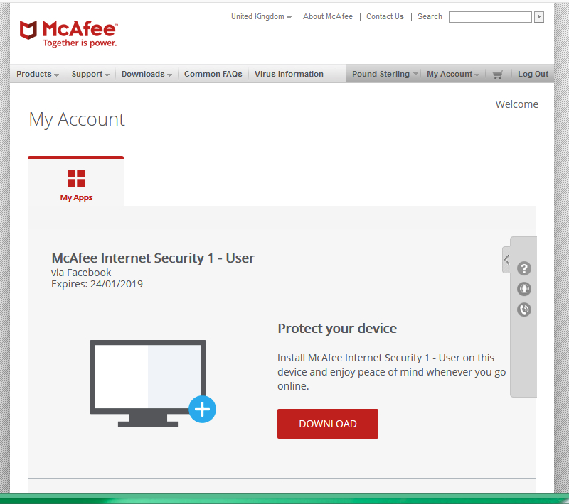 McAfee Internet Security 1 PC 180 days