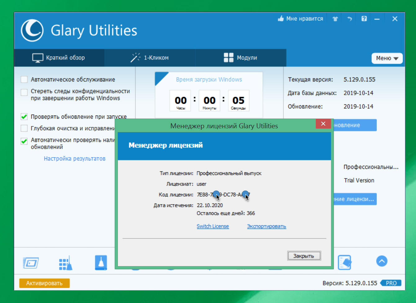 Glary Utilities Pro v.5.129.0.155 key up to 25.03.2021