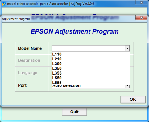 Adjustment program EPSON L110,210,300,350,355,550,555
