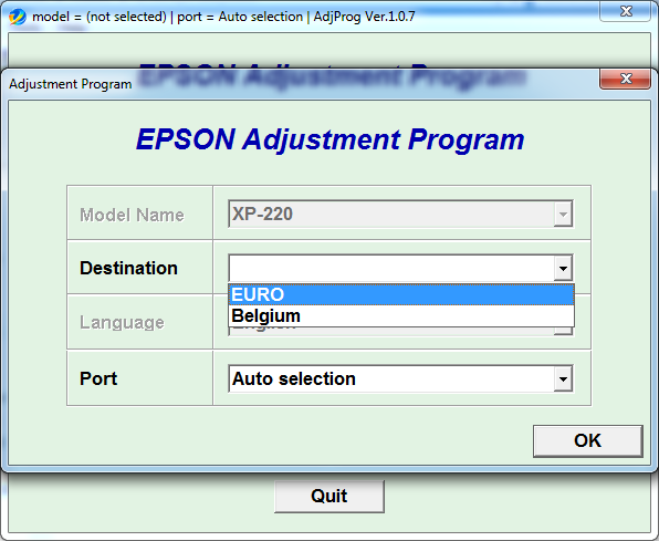 Adjustment program  Epson XP220 (EURO_BELGIUM)