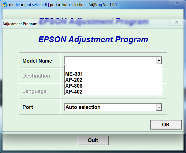 Adjustment program Epson ME301 XP202 XP300 XP402 (ESP)