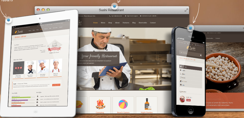 Wordpress Sushi-bar or restoraunt template