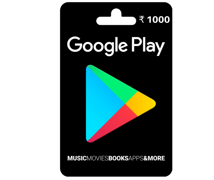 Rs 1000 Google Play Gift Card - India Indian Rupee 2019