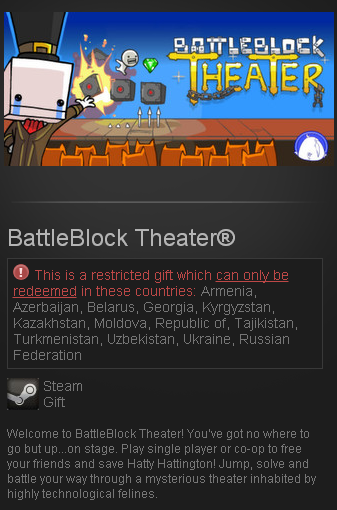 BattleBlock Theater - STEAM Gift - (RU+CIS+UA**)