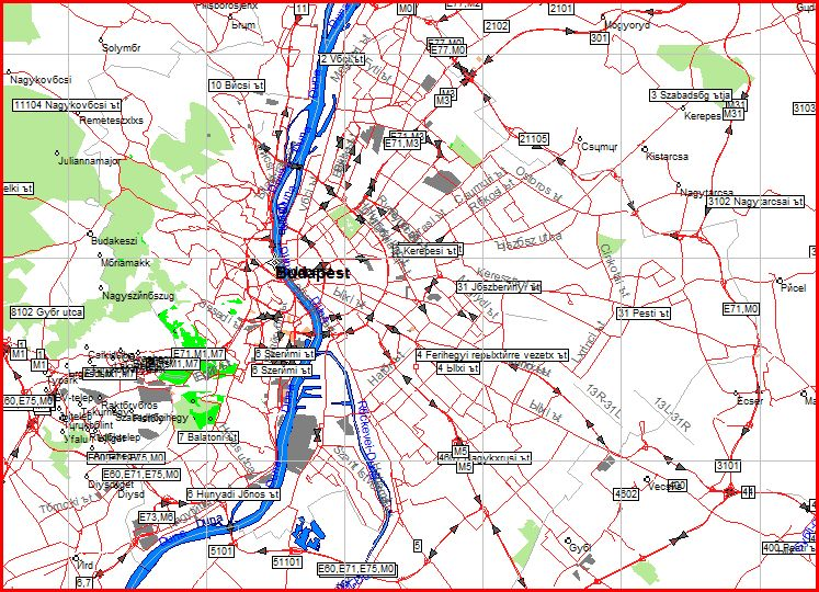 Map of Hungary for the GPS-navigation