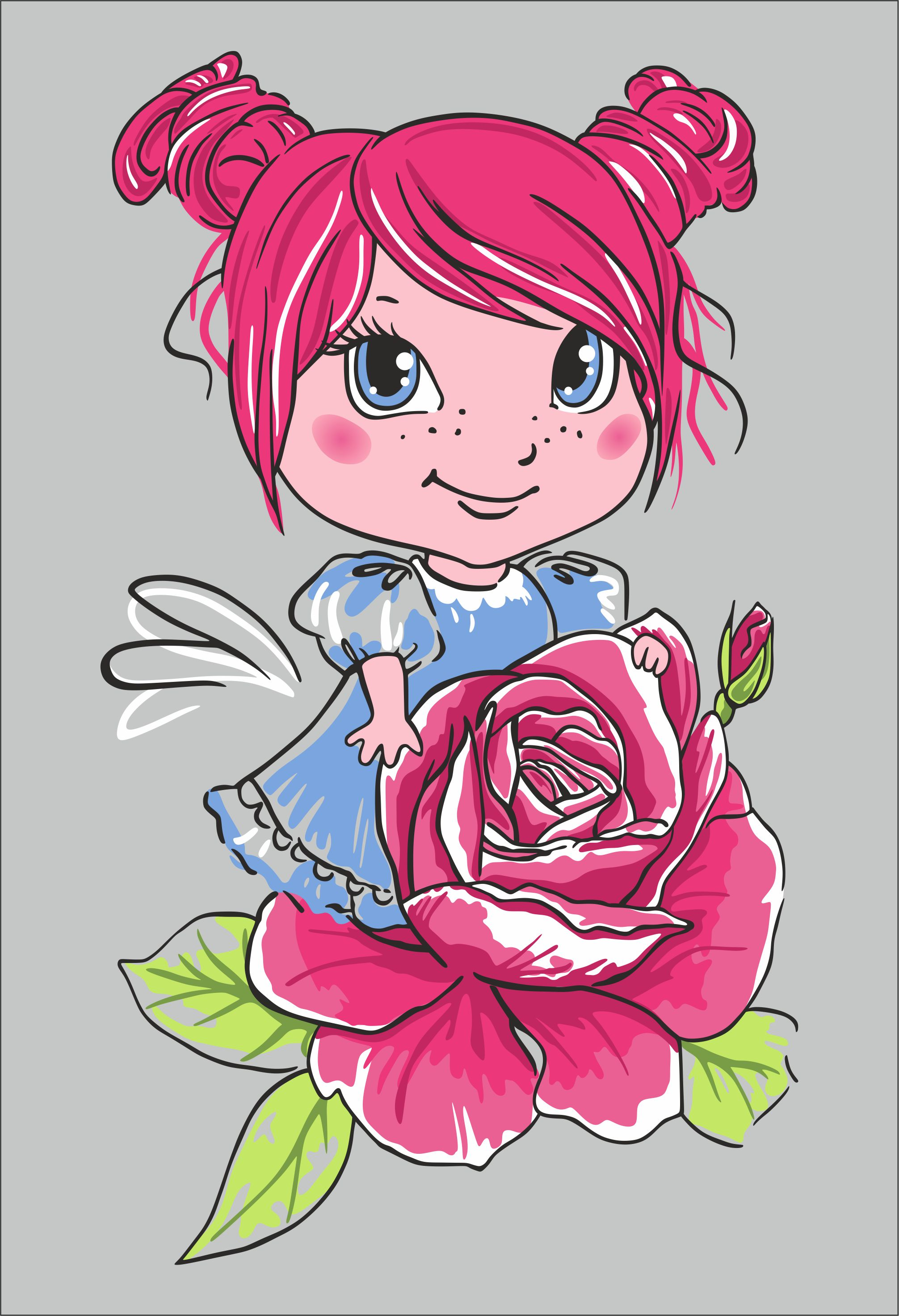 Girl with a rose vector image in Corel Draw
