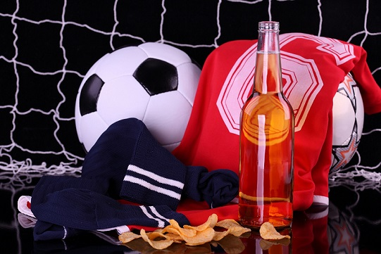 Photo beer and soccer ball  ( for MOCK-UPS )