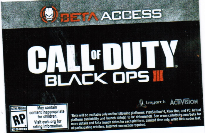 Call of Duty: Black OPS III ( BETA KEY) XBOXONE/PS4/PC