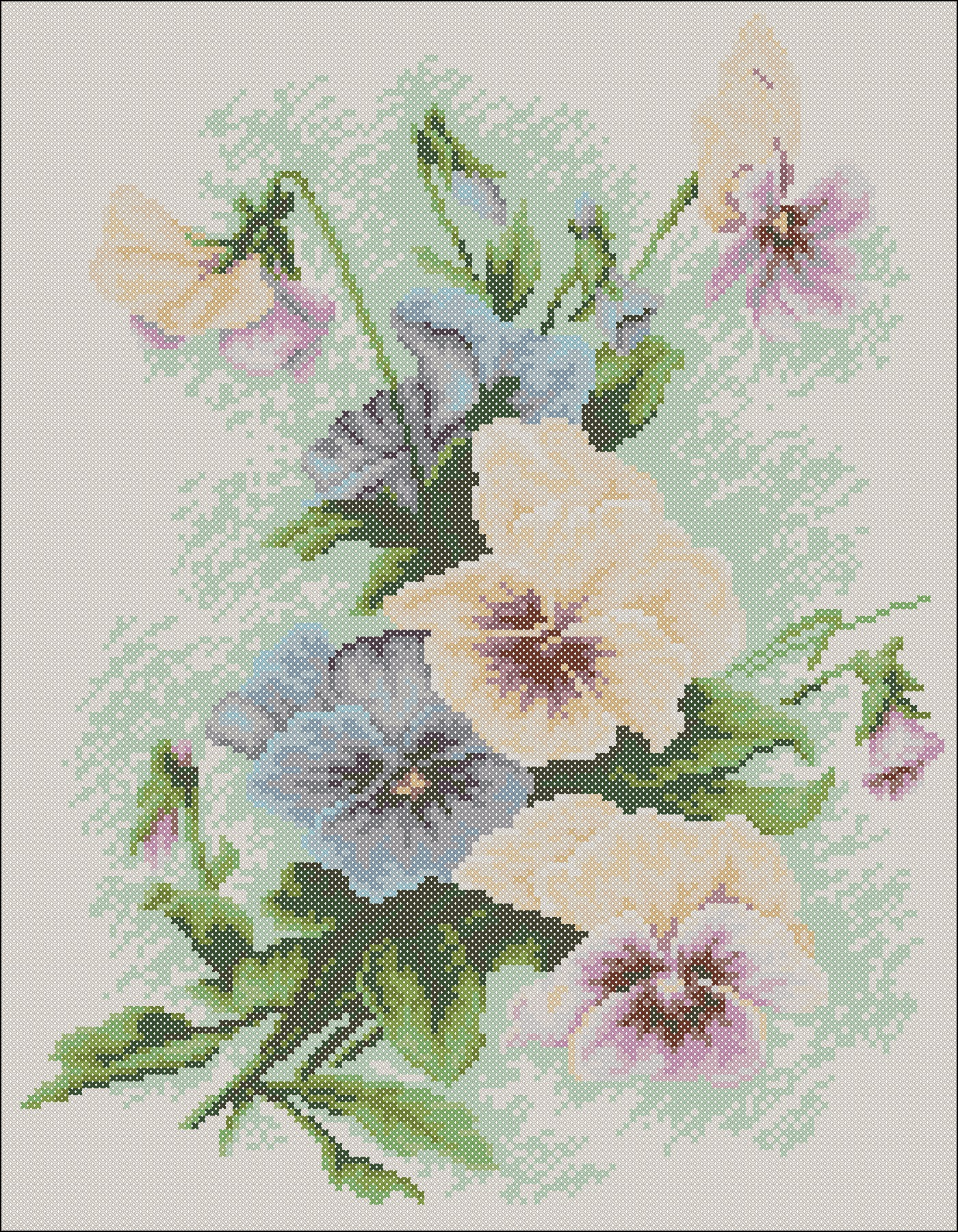 "The scheme for embroidery with beads ""Pansies 001"""