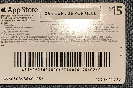 iTunes Gift Card $15 USA = Photo of the back side!SALE