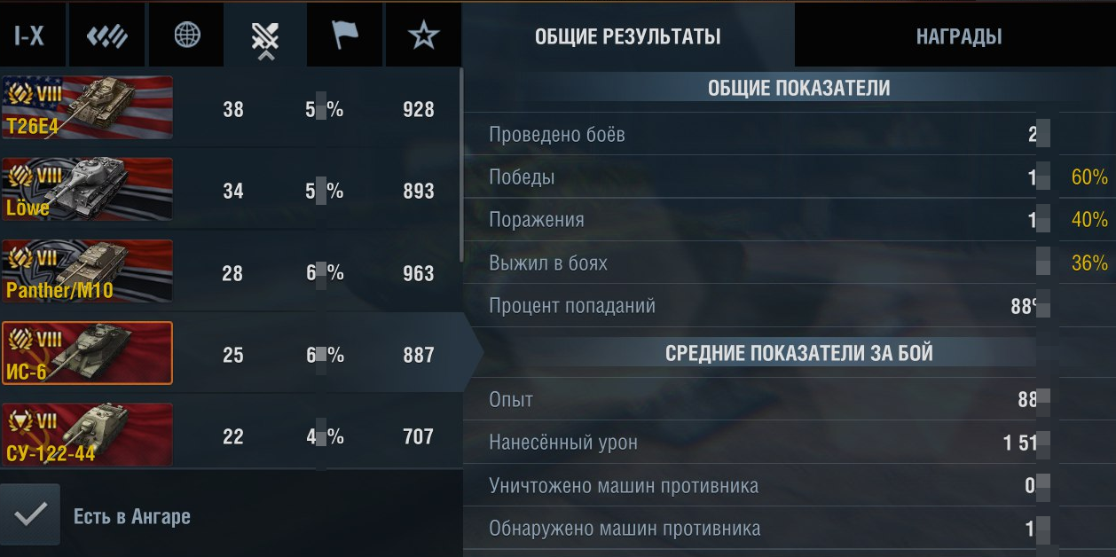 Account WoT BLITZ (9 prem.tankov) RU server