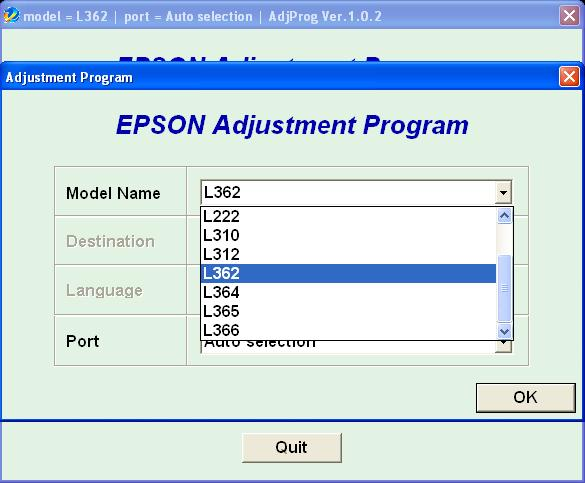 Epson L130, L220, L310, L360, L365 Adjustment Program