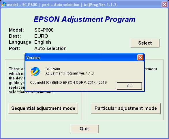 Epson Sure Color SC-P600 Adjustment Program