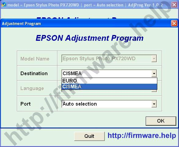Epson PX720WD Adjustment Program